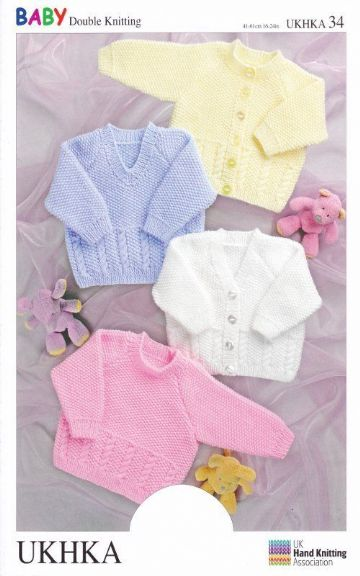 Baby Double Knitting Pattern Long Sleeved Cardigans Sweaters Cable Knit UKHKA 34